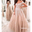 Off the Shoulder Champagne Lace Wedding Dresses, BGH095