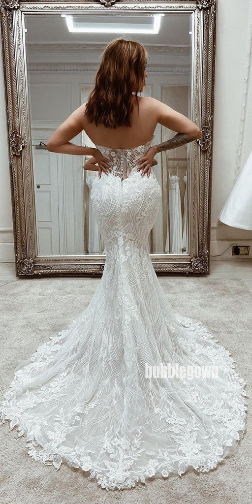 Sweetheart White Lace Applique Mermaid Wedding Dresses, BGH097