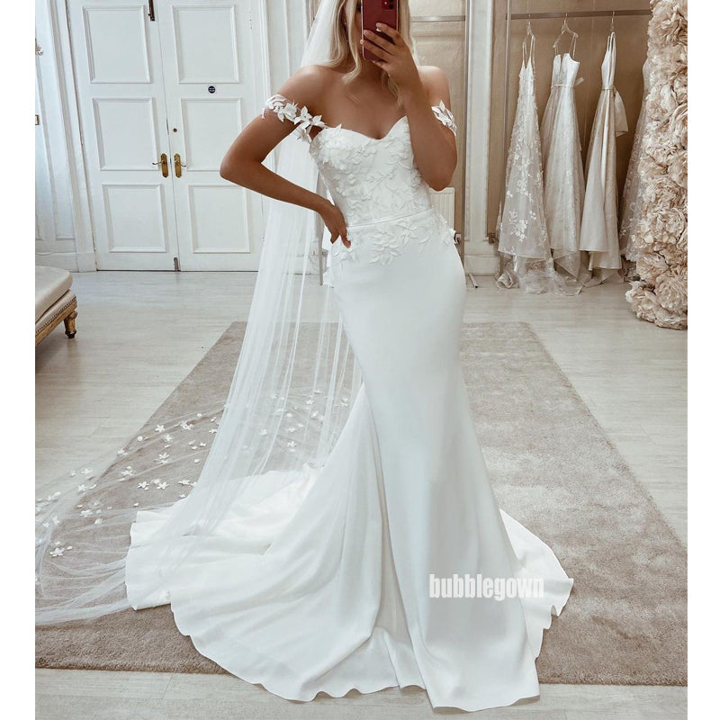 Elegant Off Shoulder White Applique Mermaid Long Wedding Dresses, BGH099
