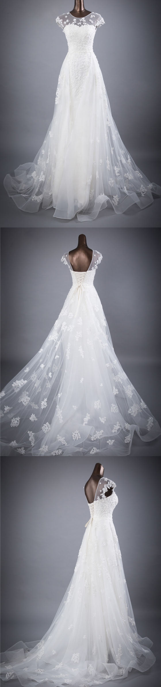 Cap Sleeves Charming Affordable Lace Up Back Long Wedding Dresses, BGW002