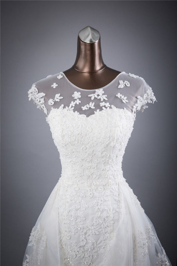 Cap Sleeves Charming Affordable Lace Up Back Long Wedding Dresses, BGW002 - Bubble Gown