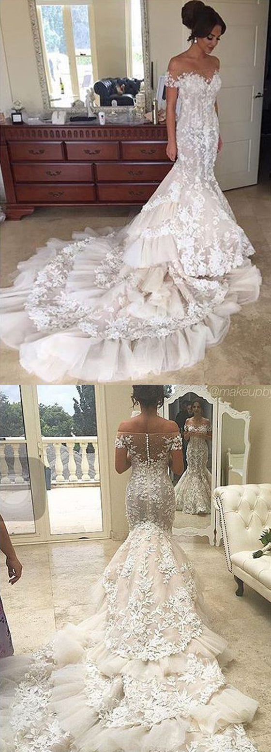 Gorgeous Lace Off the Shoulder Mermaid Long Bridal Wedding Dresses, BGP233 - Bubble Gown