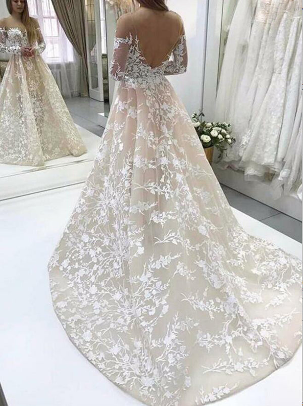 Popular Long Sleeves Unique Applique Lace Long Bridal Wedding Dresses, BGP243