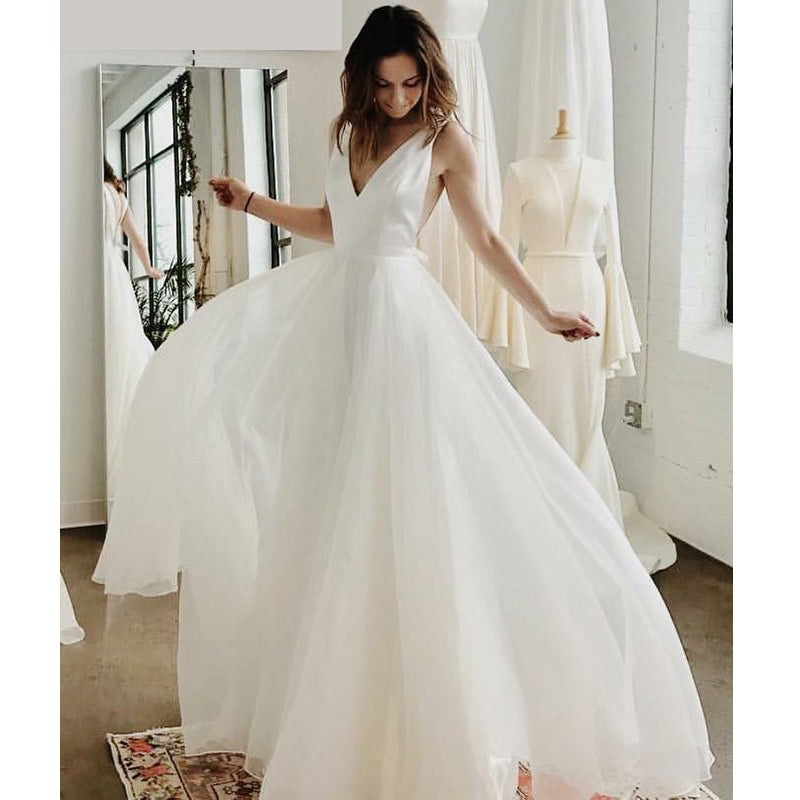 Simple Cheap V Neck A Line Beach Bridal Long Wedding Dresses, BGP273