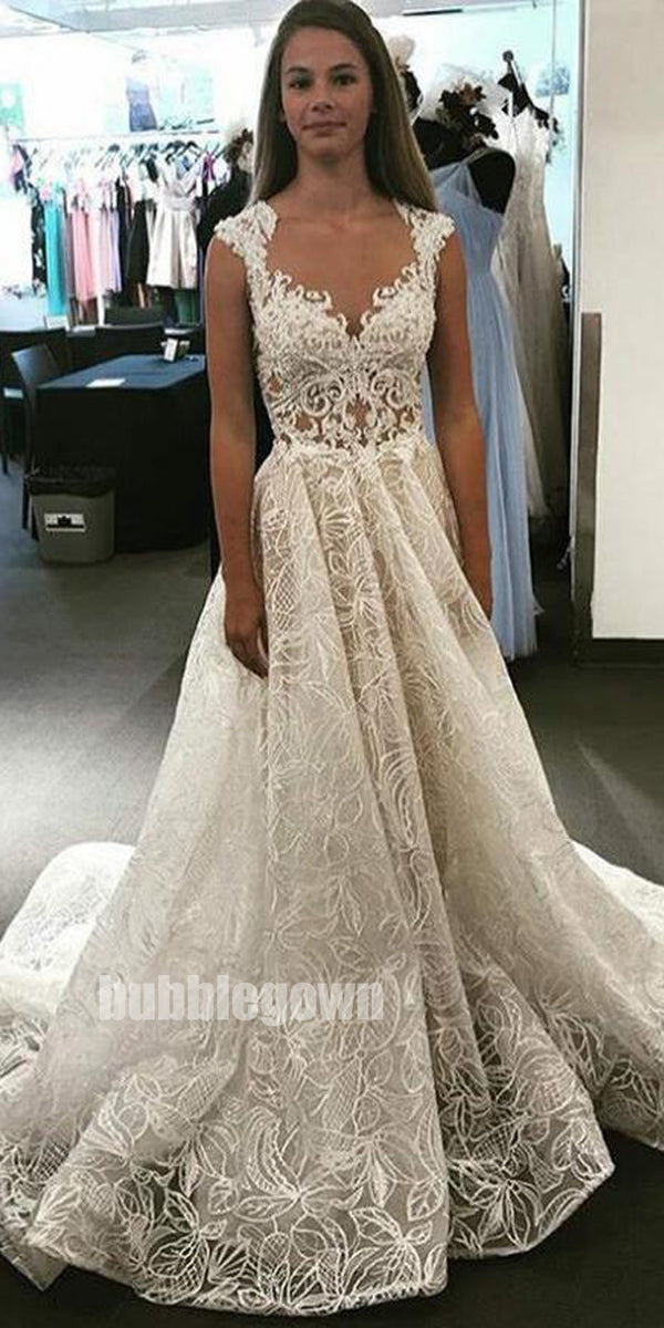 Affordable Unique Lace A Line Charming Bridal Long Wedding Dresses, BGP263