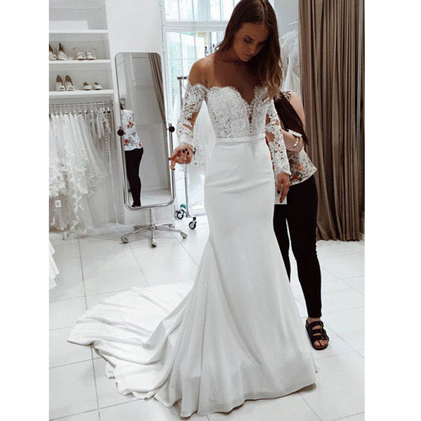 Wedding Dress With Sleeves.Long Sleeves Off The Shoulder Mermaid Bridal Long Wedding Dresses Bgp230