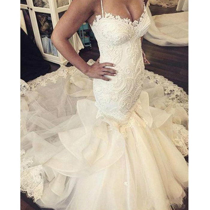 Gorgeous Spaghetti Strap Sweetheart Mermaid Long Wedding Dresses, BGP234