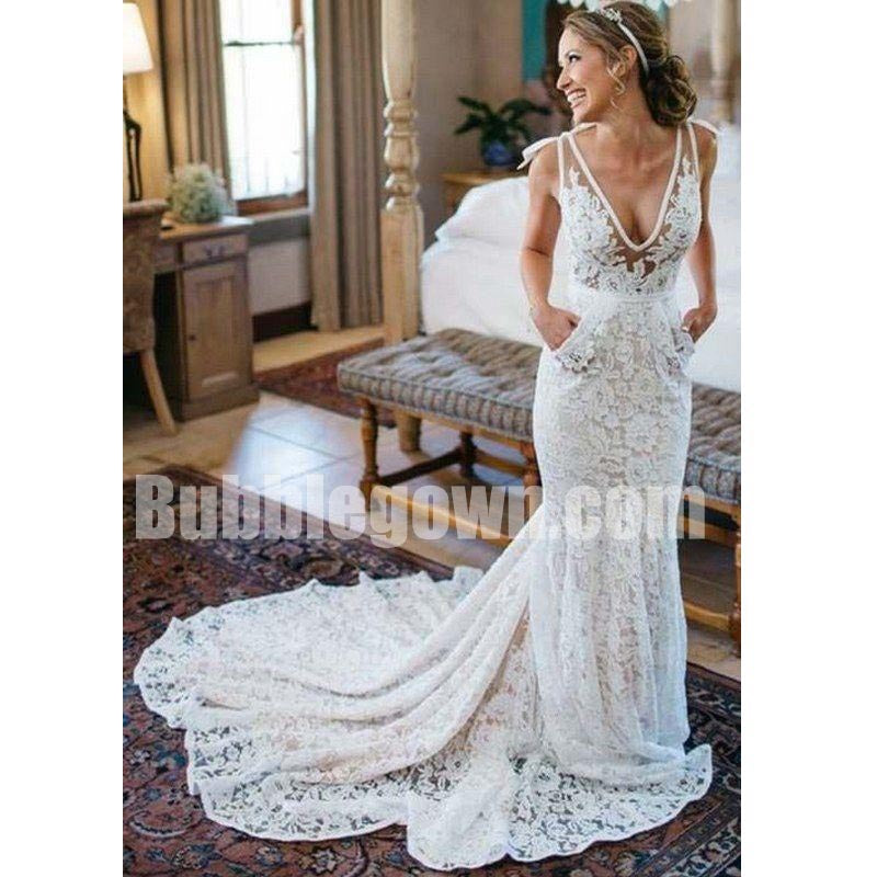 Charming Lace V Neck Mermaid Elegant Long Bridal Wedding Dresses, BGW004