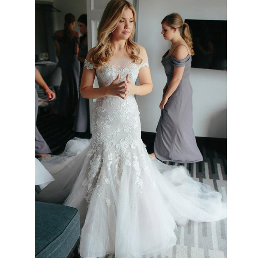 Off the Shoulder Applique Mermaid Charming Long Bridal Wedding Dresses, BGP255