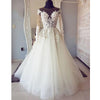 Inexpensive Tulle Applique Long Sleeves Online Long Wedding Dresses, BGP278