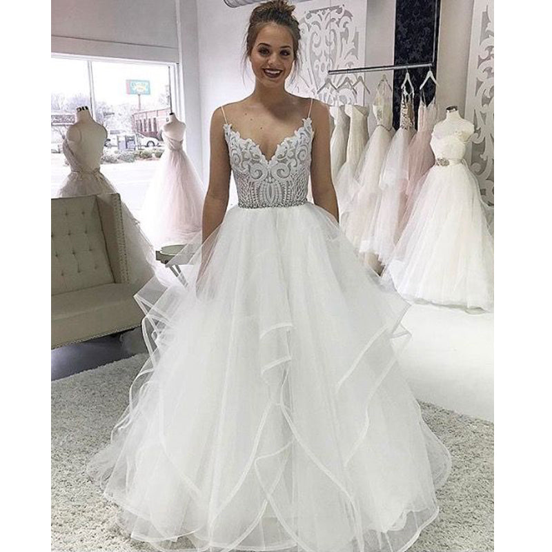 Popular Spaghetti Strap Lace Inexpensive Bridal Long Wedding Dresses, BGP262