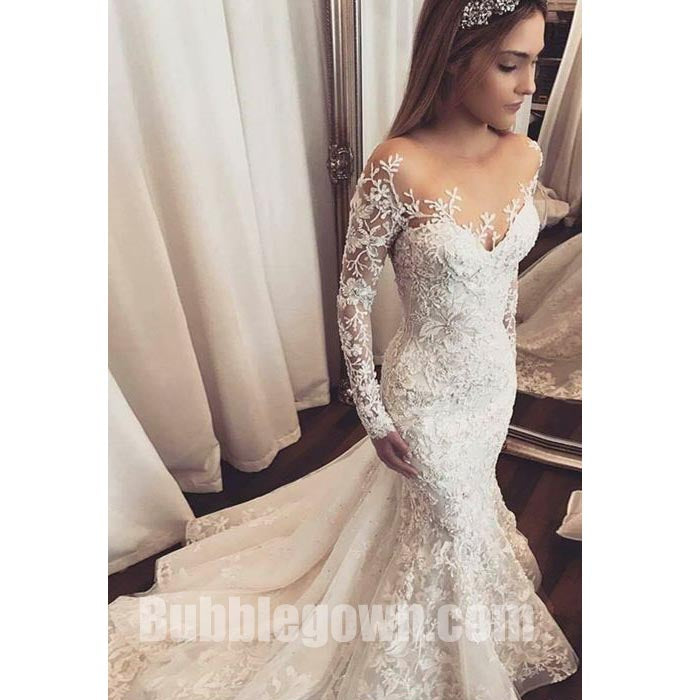 Long Sleeves Mermaid Seen Through Back Elegant Long Wedding Dresses ...