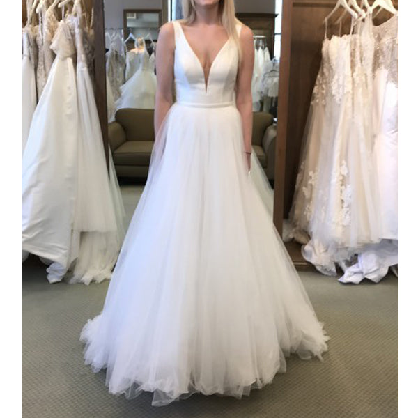 Simple Cheap V Neck Tulle Beach Bridal Long Wedding Dresses, BGP272