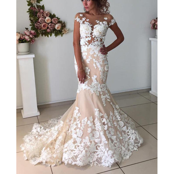 94d6a31350 Affordable Cap Sleeves Mermaid Applique Bridal Long Wedding Dresses, BGP271