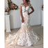 Affordable Cap Sleeves Mermaid Applique Bridal Long Wedding Dresses, BGP271 - Bubble Gown