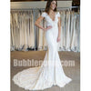Cap Sleeves V Neck Lace Mermaid Elegant Long Wedding Dresses, BGW009 - Bubble Gown
