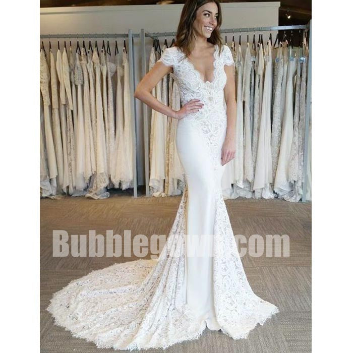 Cap Sleeves V Neck Lace Mermaid Elegant Long Wedding Dresses, BGW009 ...