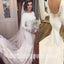 Long Sleeves Mermaid Open Back Elegant Cheap Long Wedding Dresses, BGW007
