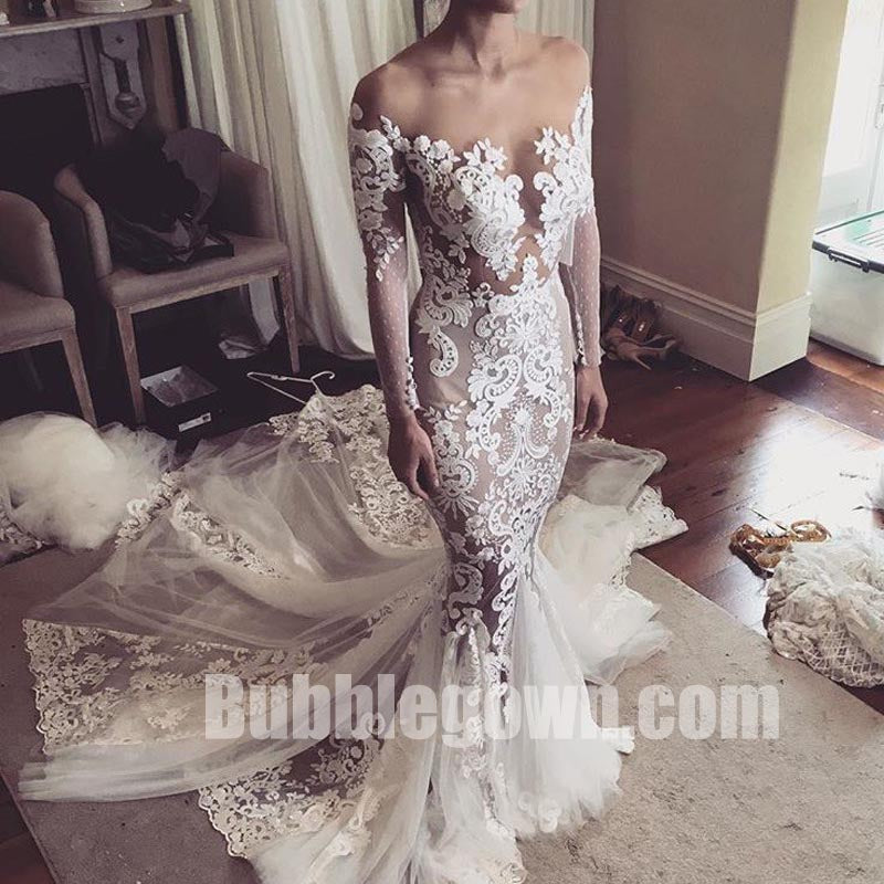 Long Sleeves Seen Through Applique Lace Mermaid Bridal Long Wedding Dresses, BGW011 - Bubble Gown