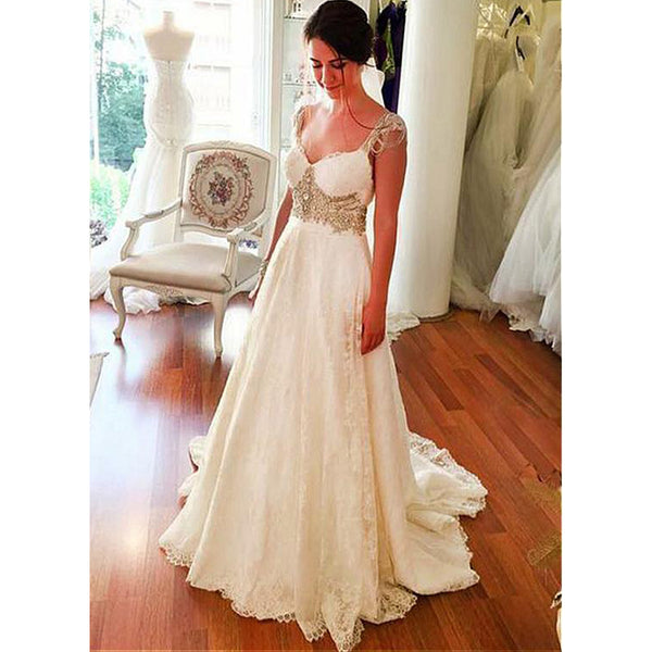 A Line Cheap Lace Sweetheart Long Bridal Beach Wedding Dresses, BGP259 - Bubble Gown