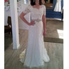 Short Sleeves Lace A Line Cheap Bridal Long Beach Wedding Dresses, BGP267