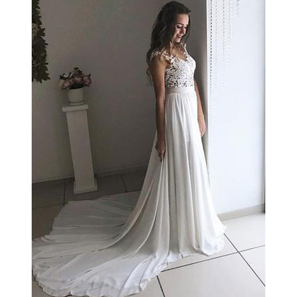 Charming Lace Formal A Line Cheap Long Beach Wedding Dresses, BGP236