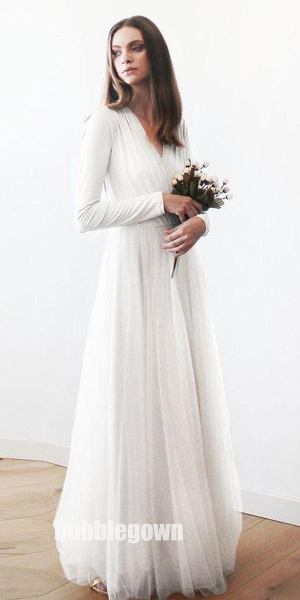 Long Sleeves V Neck Simple Cheap Beach Long Wedding Dresses, BG51635