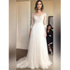 Elegant Long Sleeves Lace Tulle Formal Cheap Long Wedding Dresses, BG51596