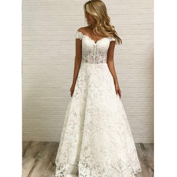 Cap Sleeve Lace A Line Formal Cheap Long Bridal Wedding Dresses, BGP253 - Bubble Gown