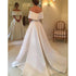 Off the Shoulder Simple Cheap Satin Long Bridal Wedding Dresses, BGP241