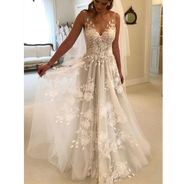 Charming V Neck A Line Cheap Applique Bridal Long Beach Wedding Dresses, BGP264 - Bubble Gown