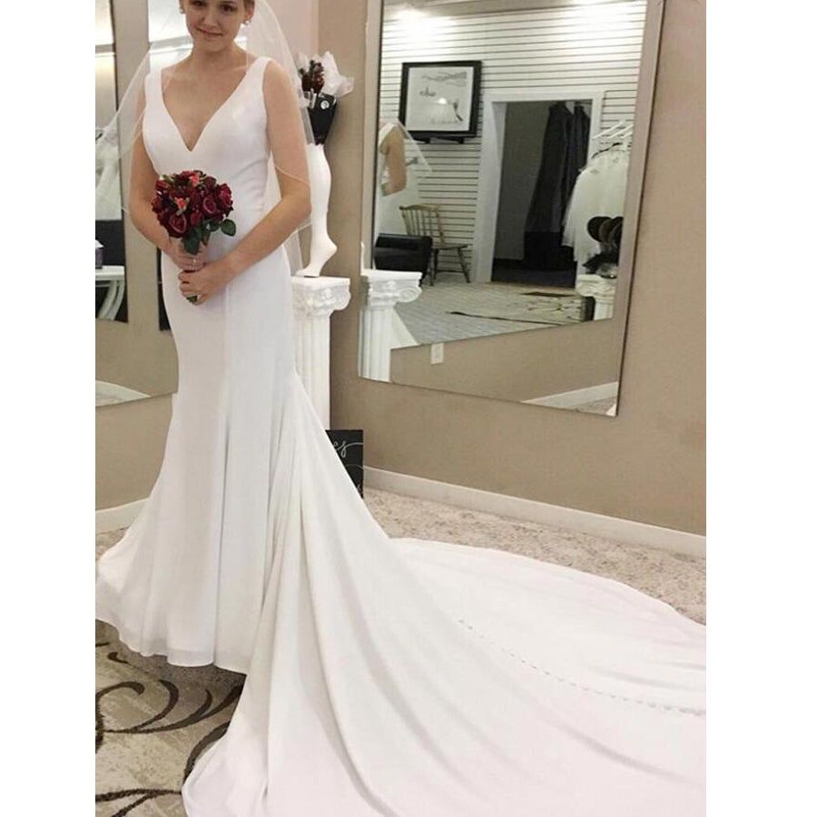 Elegant Simple Cheap V Neck Mermaid Long Bridal Wedding Dresses, BGP245