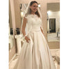 Cap Sleeve Lace Top A Line Cheap Long Bridal Wedding Dresses, BGP244