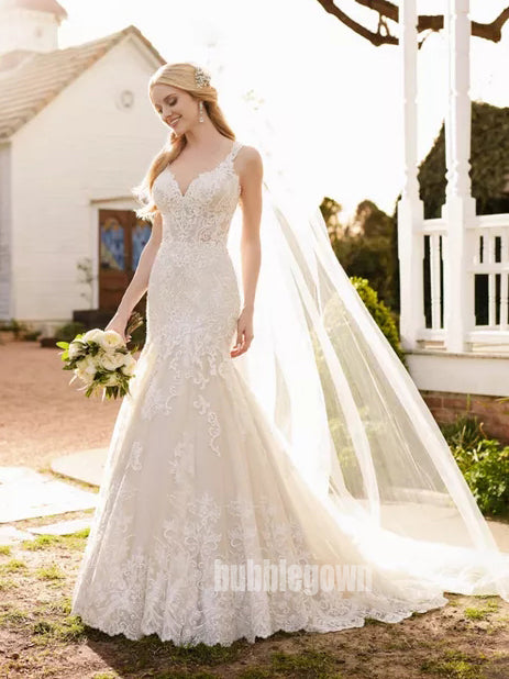 Mermaid Lace Applique Elegant Bridal Long Wedding Dresses, BGP265