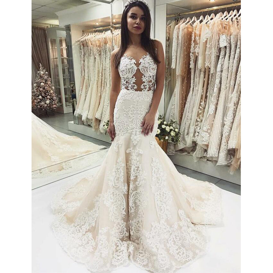 Gorgeous Lace Mermaid Sexy Popular Long Bridal Wedding Dresses, BGP242