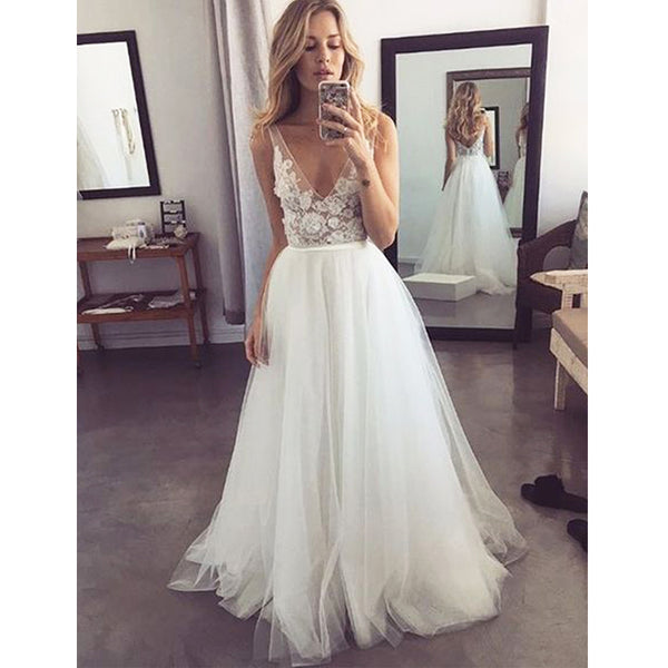 Popular V Neck Formal A Line Tulle Bridal Long Beach Wedding Dresses, BGP270