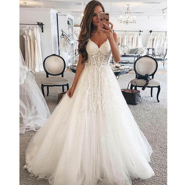 A Line Spaghetti Strap Sweetheart Charming Applique Long Wedding Dresses, BGP261 - Bubble Gown