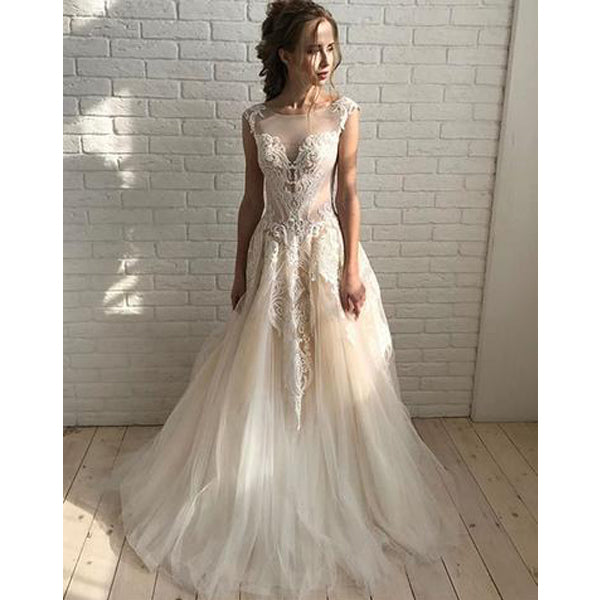 Unique Lace Formal A Line Lace Up Back Cheap Long Wedding Dresses, BGP235