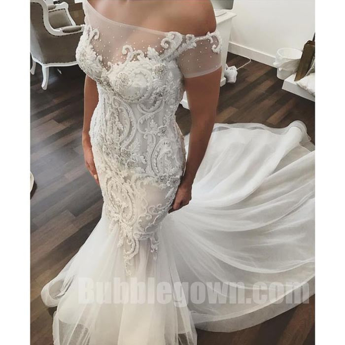 Off the Shoulder Mermaid Elegant Long Bridal Wedding Dresses, BGW005