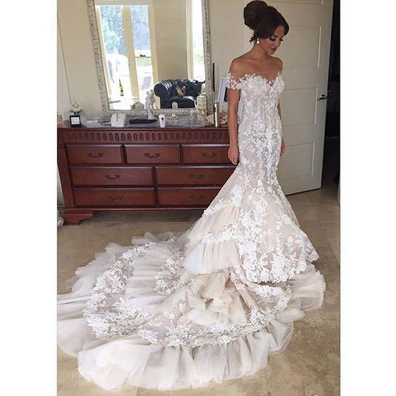Gorgeous Lace Off the Shoulder Mermaid Long Bridal Wedding Dresses, BGP233