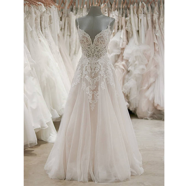 A Line Formal Spaghetti Strap Tulle Lace Cheap Long Wedding Dresses, BGP276 - Bubble Gown