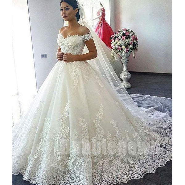 Charming Affordable Off the Shoulder Long Wedding Dresses, BGW003 - Bubble Gown
