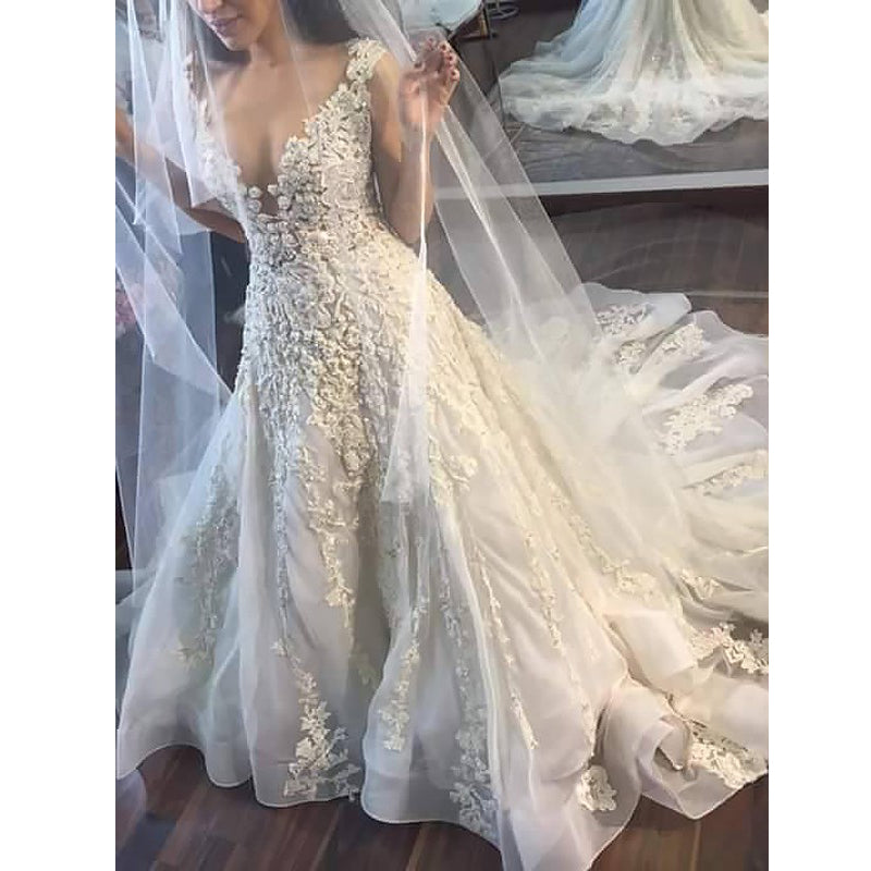 Gorgeous Affordable Charming Applique Lace Long Bridal Wedding Dresses, BGP260