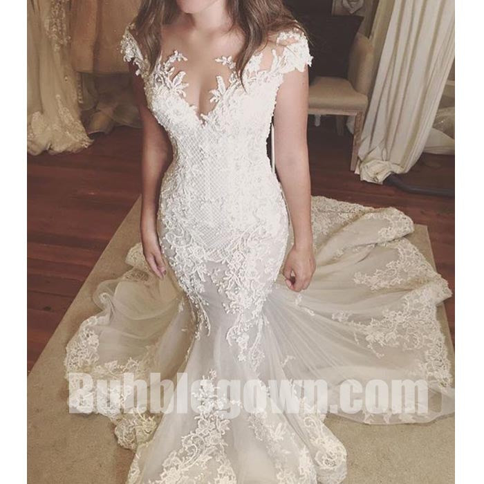 Cap Sleeves Lace Mermaid Elegant Bridal Long Wedding Dresses, BGW010 ...