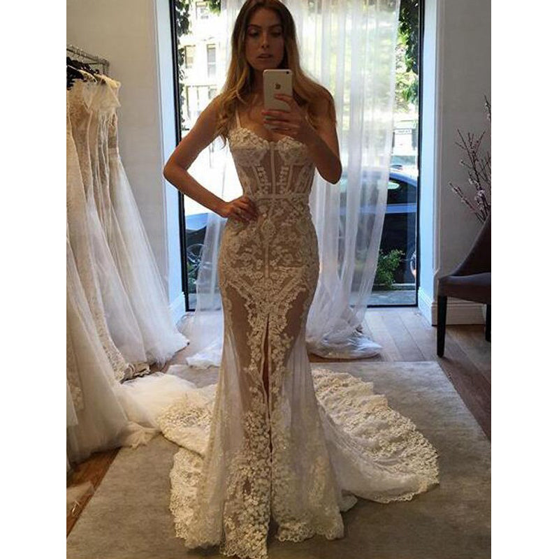Sexy See Through Lace Mermaid Sweetheart Long Wedding Dresses, BGP238