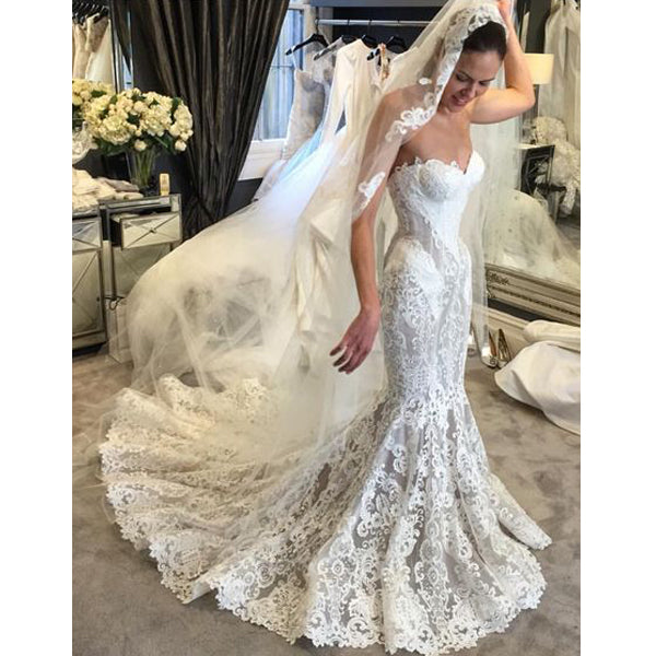 Sweetheart Lace Mermaid Cheap Long Bridal Wedding Dresses, BGP237