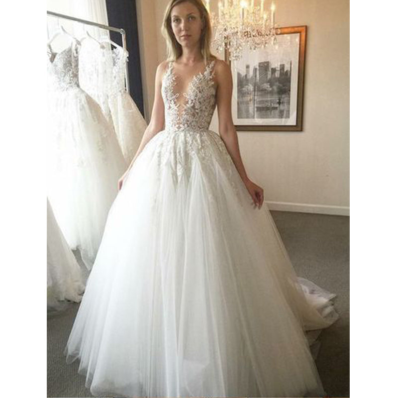 Unique Lace Formal A Line On Sale Bridal Long Wedding Dresses, BGP231
