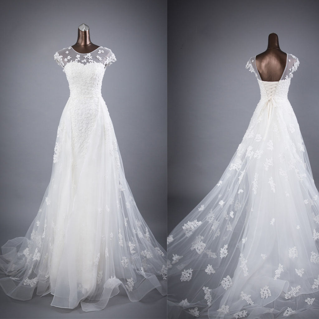 Cap Sleeves Charming Affordable Lace Up Back Long Wedding Dresses BGW002