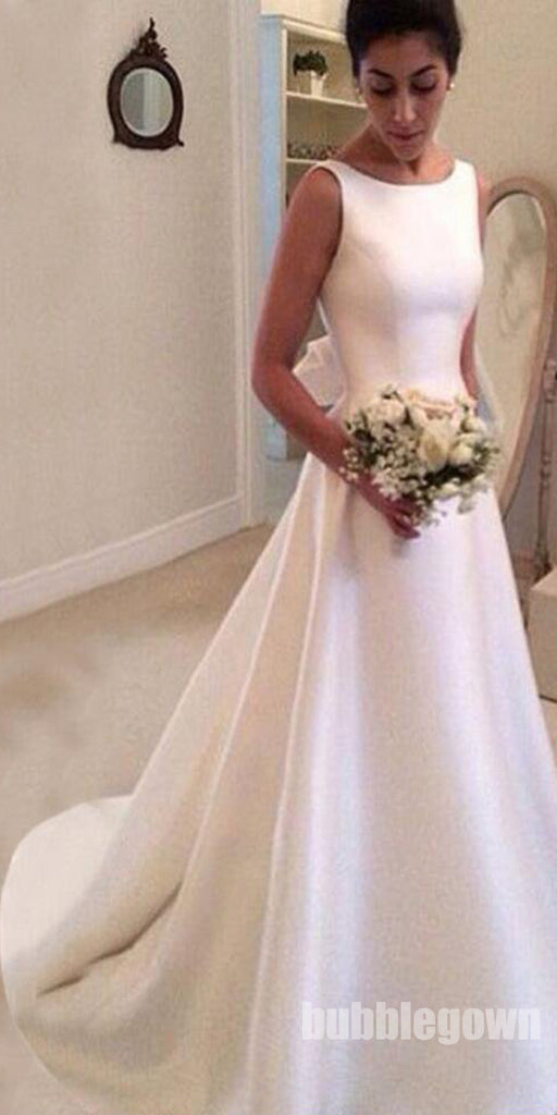 Simple Cheap Satin A Line V Back Long Bridal Wedding Dresses, BGP257
