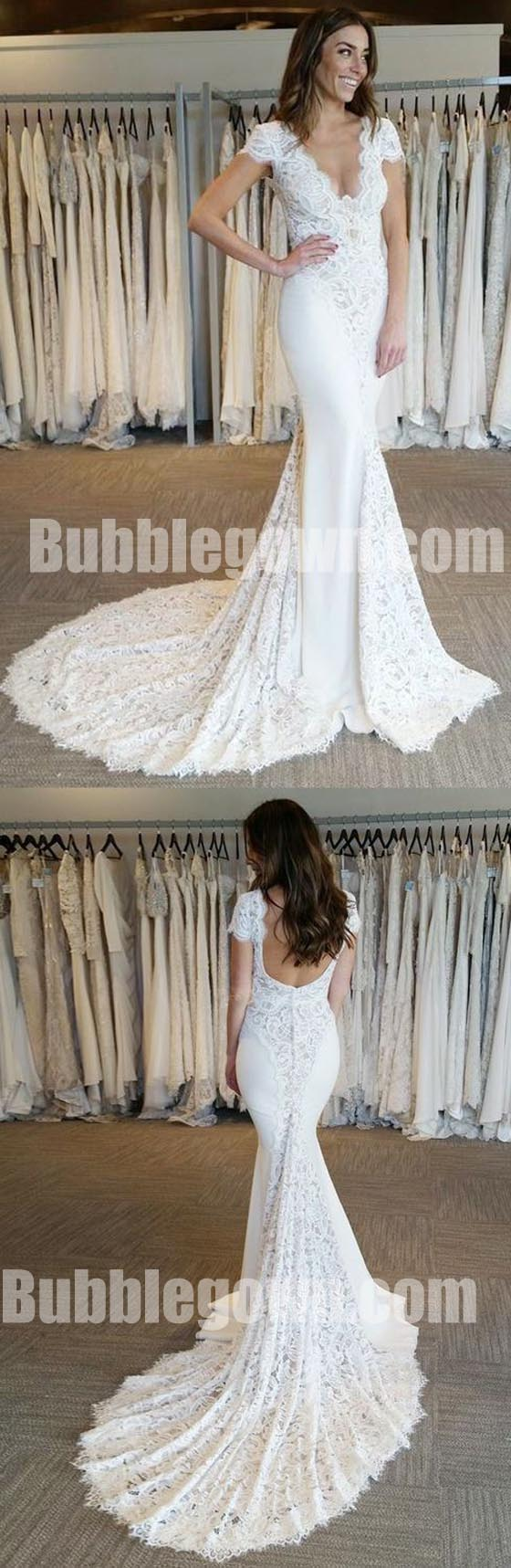 Cap Sleeves V Neck Lace Mermaid Elegant Long Wedding Dresses, BGW009